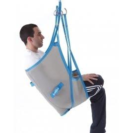 Arnés grúa traslado diseñado para elevar con seguridad a pacientes amputados.